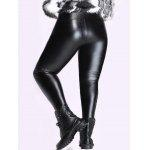 cheap Plus Size High Waisted Skinny PU Pants