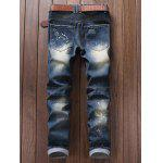 cheap Paint Splatter Ripped Moto Jeans