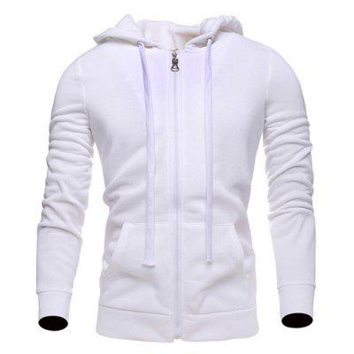 Zip Up Long Sleeves Plain Drawstring Hoodie