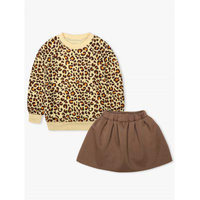Kids Leopard Print Sweatshirt + Mini Skirt