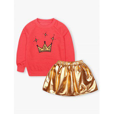 Kids Crown Print Sweatshirt + Mini Skirt