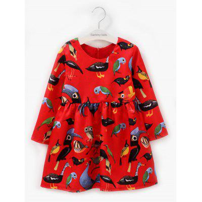 Kids Long Sleeve Animal Print Dress