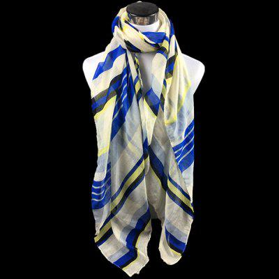 Color Block Stripe Voile Scarf