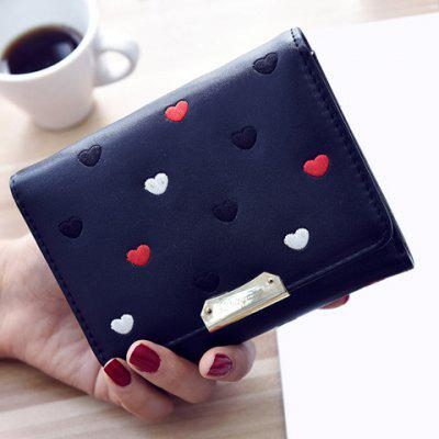 Heart Pattern Metal Embroidery Wallet