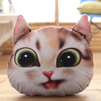 Detachable 3D Big Eyes Cathead Shape Short Plush Cartoon Pillow
