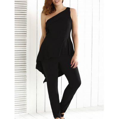 Plus Size une épaule Backless Jumpsuit