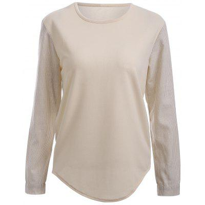 Two-Tone Cream Long Sleeves High Low T-Shirt