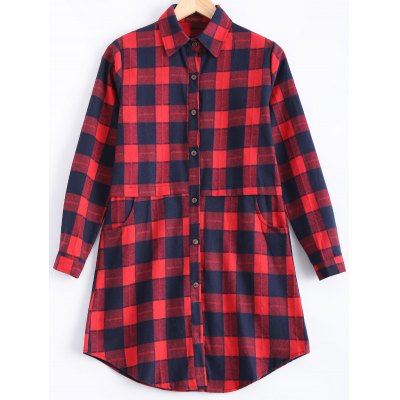 Buy RED Plus Size Plaid Pocket Design Buttoned Shirt for $21.56 in GearBest store