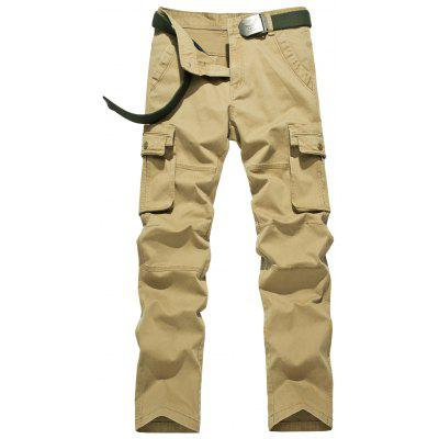 Plus Size Zipper Fly Flap Pockets Design Cargo Pants