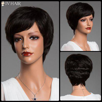 Stunning Short Side Bang Fluffy Straight Siv Real Perruque de cheveux naturels