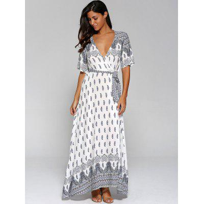 Surplice High Slit Paisley Maxi DressWomens Dresses<br>Surplice High Slit Paisley Maxi Dress<br><br>Dresses Length: Floor-Length<br>Material: Cotton Blend<br>Neckline: Plunging Neck<br>Package Contents: 1 x Dress  1 x Belt<br>Pattern Type: Paisley<br>Season: Spring, Summer<br>Silhouette: A-Line<br>Sleeve Length: Short Sleeves<br>Style: Bohemian<br>Weight: 0.4200kg<br>With Belt: Yes