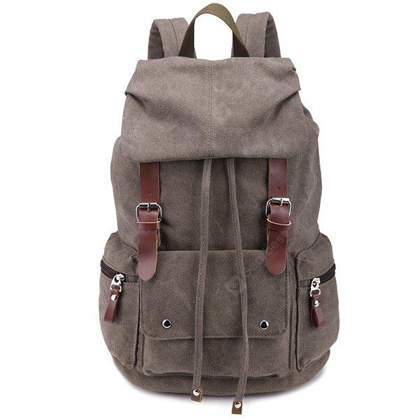 Zippers Double Buckle Drawstring Backpack COFFEE