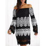 Off-The-Shoulder Laciness Paisley Casual Dress - BLACK