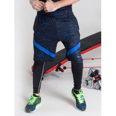 Buy BLUE Color Block Selvedge Embellished Elastic Waist Basketball Shorts for $16.34 in GearBest store