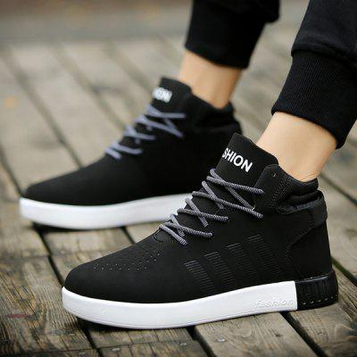 Round Toe Color Block Lace Up Casual Shoes