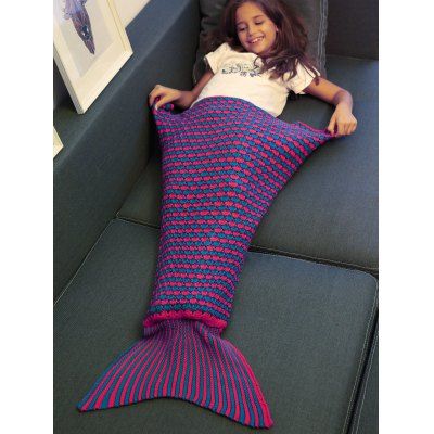 Buy Stripe Pattern Fish Tail Design Knitted Blankets and Throws For Kid PURPLE for $13.06 in GearBest store