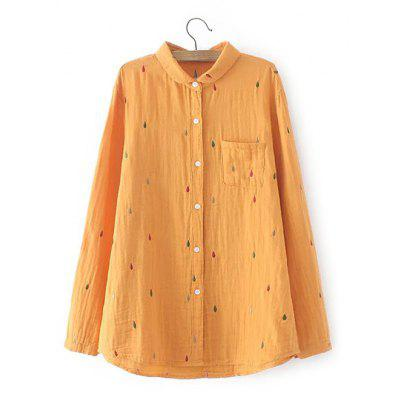 Buy YOLK YELLOW Plus Size Chest Pocket Embroidered Shirt for $24.75 in GearBest store