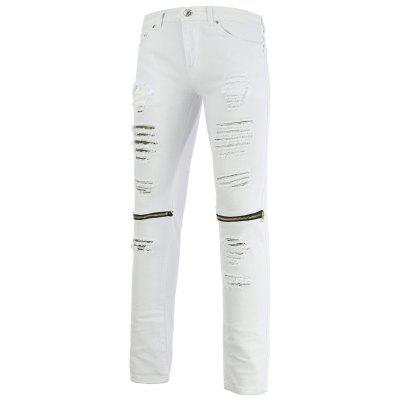 Zipper Design Holes and Cat's Whisker Straight Leg Jeans