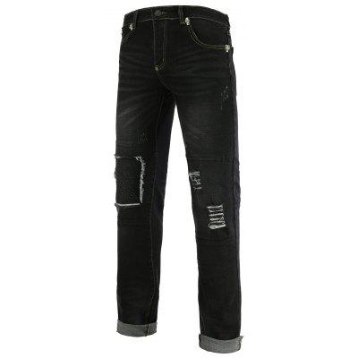 Skull Emboss Holes and Cat's Whisker Zipper Fly Straight Leg Jeans