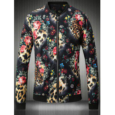 Stand Collar Plus Size 3D Flower and Leopard Print Jacket