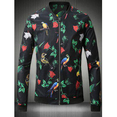 Buy BLACK Stand Collar Plus Size 3D Rose and Bird Print Jacket for $44.52 in GearBest store