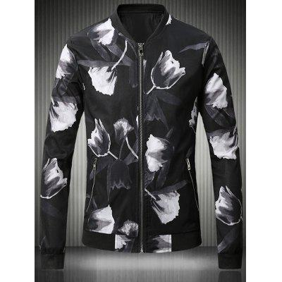 Stand Collar Plus Size 3D Rose Print Bomber Jacket