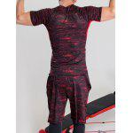 Quick-Dry Color Block Printed Splicing Design Short Sleeve T-Shirt - RED