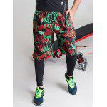 Color Block Spliced Letter Print Elastic Waist Basketball Shorts - COLORMIX