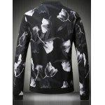Buy Stand Collar Plus Size 3D Rose Print Bomber Jacket 5XL BLACK