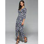 Floral Print Wrap Front Slit Maxi Summer Dress - PURPLISH BLUE