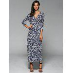Buy Floral Print Wrap Front Slit Maxi Summer Dress PURPLISH BLUE