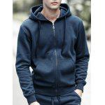 Drawstring Hooded Long Sleeve Basic Zip-Up Hoodie - DEEP BLUE