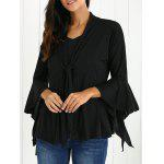 Bell Sleeves Flounced Tied-Up Cardigan - BLACK