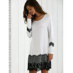Long Sleeve Lace Splicing Comfy Dress - WHITE AND BLACK