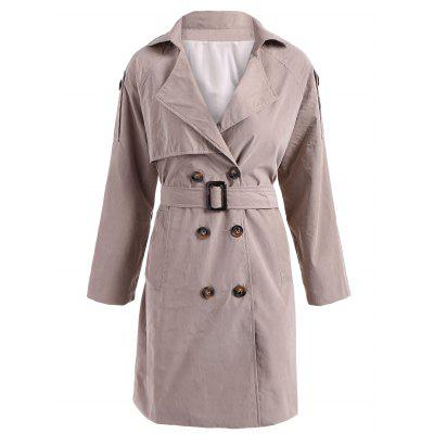 Lapel Belted Double-Breasted Trench Coat