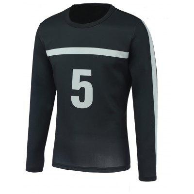 Number Five and Stripe Print Round Neck Long Sleeve Sweatshirt