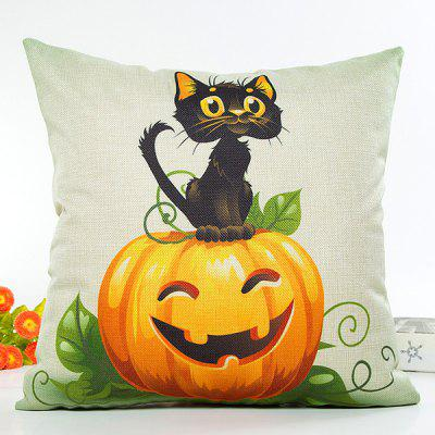 Halloween Cat Pumpkin Design Flax Cushion Pillow Case