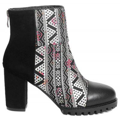 Geometric Pattern Zipper Back Suede Ankle Boots