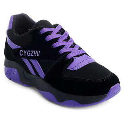 Buy BLACK AND PURPLE Tie Up Colour Block Splicing Athletic Shoes for $24.42 in GearBest store