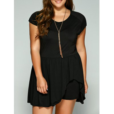 Plus Size Cape Sleeve Flounced Skirted Romper