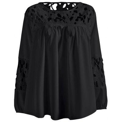 Plus Size Lace Crochet Spliced Blouse