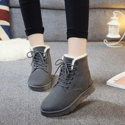 Buy GRAY 38 Suede Lace Up Ankle Boots for $20.04 in GearBest store