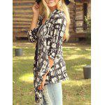 cheap Open Front Printed Long Sleeve Blouse
