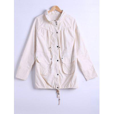 Drawstring Pocket Design Trench Coat