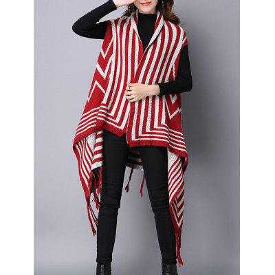 Zigzag Stripe Fringed Asymmetric Sweater Cardigan