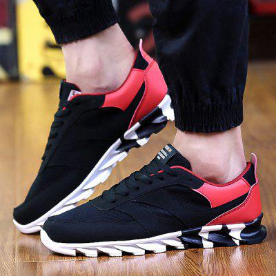 Lace-Up Mesh Suede Spliced Athletic Shoes