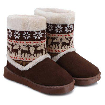 Knitted Snowflake Deer Snow Boots