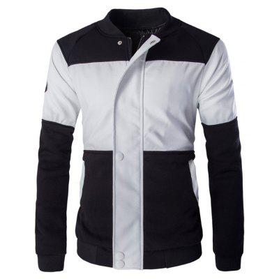 Zipper Button Color Block Faux Leather Jacket