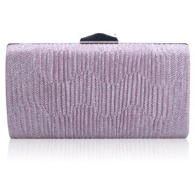 Buy Clip Rhinestone Chains Pleated Evening Bag LIGHT PURPLE for $17.20 in GearBest store