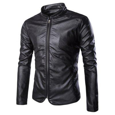Slim-Fit Zipper-Up Faux Leather Biker Jacket
